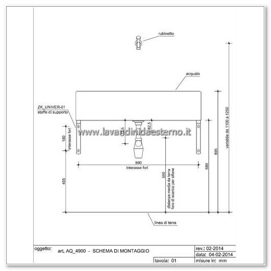 indicazioni di montaggio acquaio da esterno pollino aq4900 bar