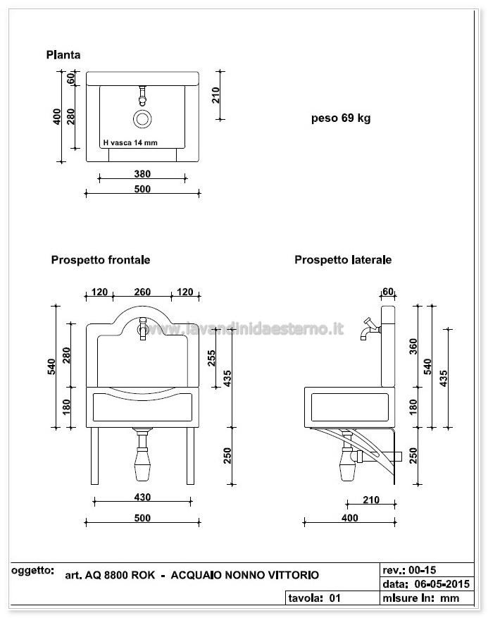 scheda tecnica lavandini da esterno nonno vittorio 540aq8800rok