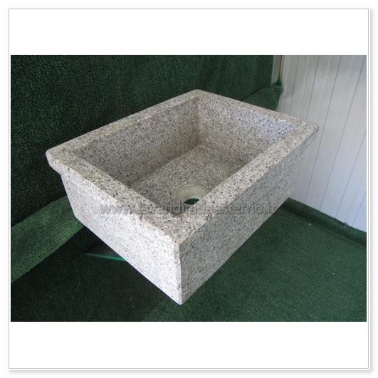 Lavello da giardino pilozzo in graniglia levigata 254 - Lavatoio in pietra da esterno ...