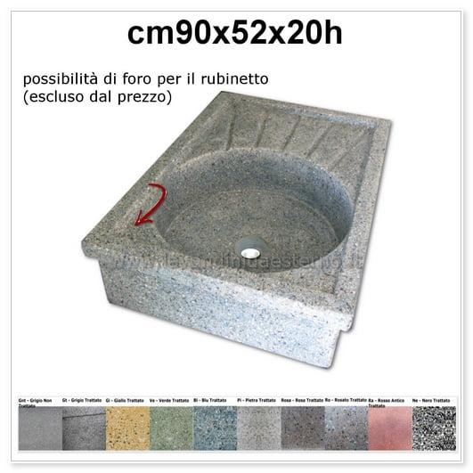 lavello da giardino acquaio in graniglia levigata 135