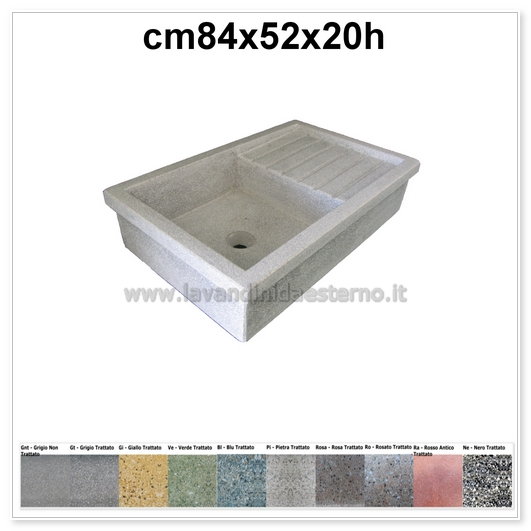 lavello da giardino acquaio in graniglia levigata 50