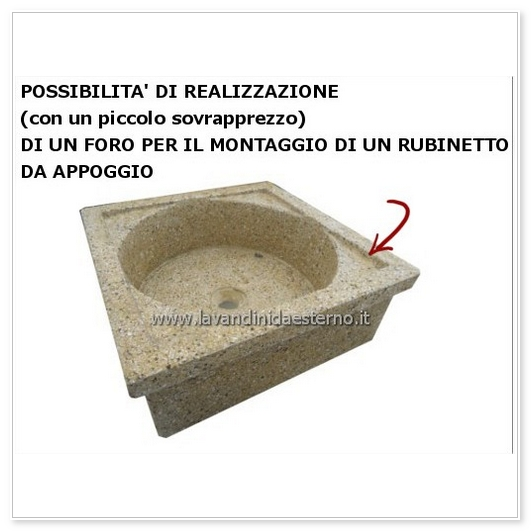 lavello da giardino pilozzo in graniglia levigata 219 possibilità di foro