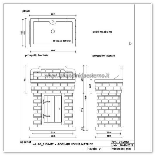 lavabo in muratura aq9150-mt dimensioni lavello