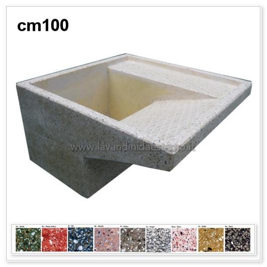 Lavatoio da esterno con supporti separati 4849 in graniglia levigata - Lavatoio in pietra da esterno ...