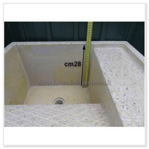 lavatoio da esterno con supporti separati 4849 in graniglia levigata - lavandini da esterno ...