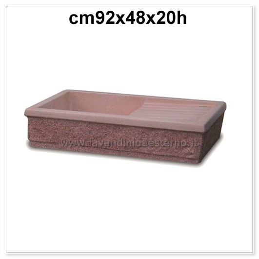 Acquaio da giardino vasca aq7010 r rosa bocciardato for Vasca giardino