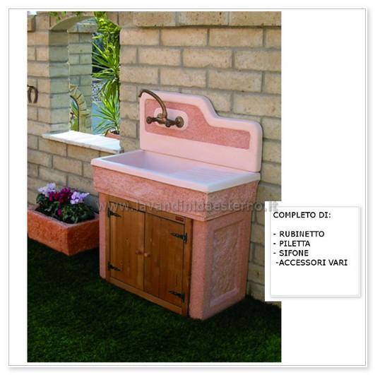Lavabo da esterno monviso aq7000r con mobile for Lavabo pietra leroy merlin