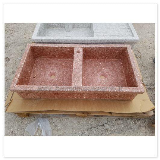 lavello da giardino acquaio in graniglia levigata 114 | doppia vasca
