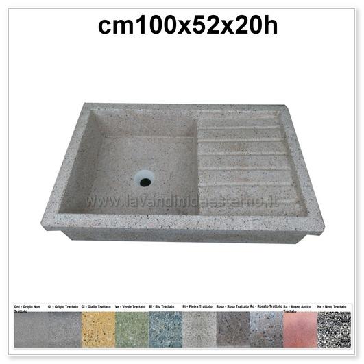 lavello da giardino acquaio in graniglia levigata 64