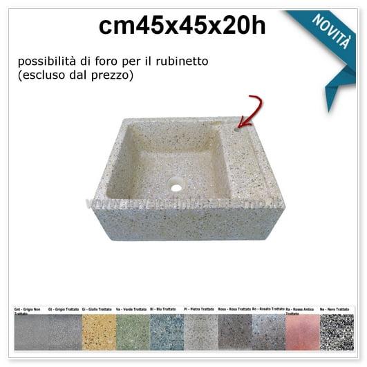 lavello da giardino pilozzino in graniglia colorata 290