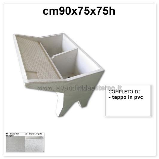 lavatoio lavanderia due vasche 61055 in graniglia levigata grigio