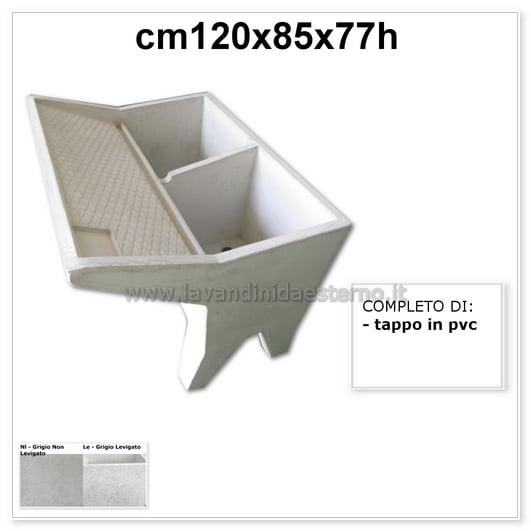 lavatoio lavanderia due vasche 61063 in graniglia levigata grigio